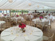 Central paper lanterns in a Marquee Marquee Hire, Marquee Wedding, Paper Lanterns, Luxury Wedding, Table Decorations, Furniture, Home Decor, Decoration Home, Room Decor