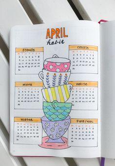 Daily habit tracker for April for bullet journal