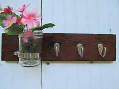 Rustic French Cottage Shabby Chic Wall Hanging Vase Bathroom Towel Hooks Key Rack Organizer Brown. $32.00, via Etsy.