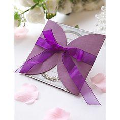 la invitación formal de la boda de organza violeta con arco (juego de 60) – USD $ 39.19