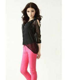 BLACK Korea High Low Chiffon Shirt  - $12.38 on @ClozetteCo
