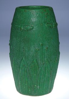 "Wheatley Pottery (1903-1910) - Scarab Vase. Carved & Matte Glazed Pottery. Circa 1903-1910. 8-1/8""."