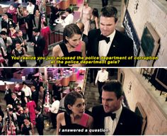 """""""You realize you just accused the police department of corruption at the police department gala?"""" - Thea and Oliver #Arrow"""