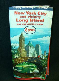 1960 Esso Road Map and Visitor's Guide New York City Long Island Manhattan