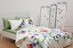 Lenjerie de pat, bumbac satinat deluxe, imprimat digital semnat Fetes des Tissus - Jeu du Papillon