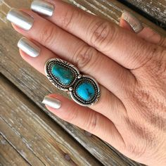 Two Turquoise Sterling Silver Native American | Two Stone Rings | Boho | Bohemian | Festival Fashion | Long Rings | by EraofJewelry on Etsy https://www.etsy.com/listing/507010842/two-turquoise-sterling-silver-native