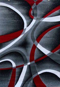 2305 Gray Black Red 5x7,8x11 Area Rug Modern Contemporary carpet #Contemporary