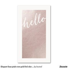 Elegant faux pink rose gold foil chic hello modern Double-Sided standard business cards (Pack of 100)