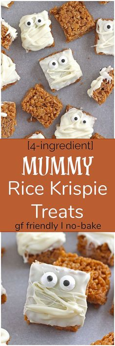 Simple Mummy Rice Krispie Treats - Made without any butter or marshmallows, these simple Mummy Rice Krispie Treats are a fun take on a traditional favorite. Gluten-free and easily made dairy-free!