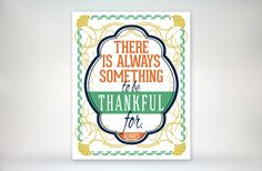 8x10 art print - There Is Always Something To Be Thankful For - Gold, Green, Orange & Navy Art Deco - Inspirational Typography Poster Print via Etsy