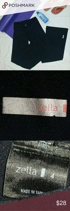 ZELLA * Yoga Pants  Black yoga pants, flared legs, wide inner waste band, stretchy 88/12% poly/spandex. EUC  DM1611S Zella Pants