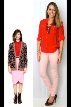 Red, pink, leopard