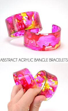Abstract Acrylic Bangle Bracelets