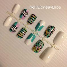 Customized Press On Nails, Artificial nails, False nails, Hand painted, Fake nails. $23.00, via Etsy.