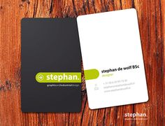Nice vertical business card sample with round corners, created by Stefan De Wolf - Industrial Graphic designer.