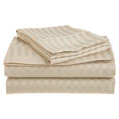Vanessa 1500 Thread Count Stripe Sheet Set in Tan