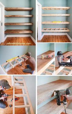 Floating Wood Shelves Ideas & How to Build Diy Wood Shelves, Floating Shelves Diy, Floating Bookshelves, Shelving Ideas, Build Shelves, Rustic Shelving, Storage Shelves, Wood Closet Shelves, Corner Shelves