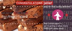 Thanks again to EVERYONE for all your #myfreegiftcard contest entries. We've got the winning names, so... congratulations to Justin Devoe and julie! Stay tuned—more FREE gift cards to give a-whey soon! From the entire @proteinbakery team— #YouGuysAreAwesome!