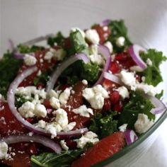 Grapefruit, Kale, and Feta Salad