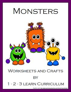 Monster themed worksheets and crafts to add to your monster theme.    -Halloween theme week?