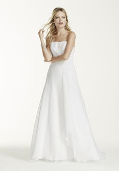 Wedding Dresses:   Illustration   Description   Chiffon A-Line Gown with Lace-Up Back | David's Bridal V9409 | trib.al/hPPXotv    -Read More –   - #WeddingDresses https://adlmag.net/2017/12/12/wedding-dresses-chiffon-a-line-gown-with-lace-up-back-davids-bridal-v9409-trib-al-hppxotv/