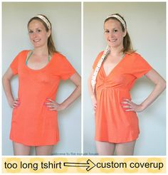 30-Minute #Swimsuit Cover-up from a t-shirt with some basic #sewing techniques. Now head to the beach!