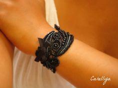 Black cuff Bracelet,bridal cuff black bracelet,Lace Cuff Bracelet,embroidered jewelry bracelets,victorian bracelet black corsage bracelet by carellya on Etsy https://www.etsy.com/listing/79065863/black-cuff-braceletbridal-cuff-black
