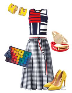 A fashion look from April 2017 featuring colorful shirts, gingham skirts and pointy toe shoes. Browse and shop related looks. Gingham Skirt, Anya Hindmarch, Thom Browne, Colorful Shirts, Tory Burch, Tommy Hilfiger, Fashion Looks, Summer Dresses, Clothes For Women
