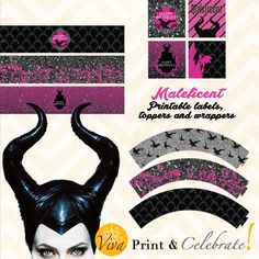 Elegant Maleficent Printable Birthday Party (toppers, wrappers and labels) by Viva Print & Celebrate!