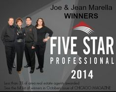 Joe & Jean Marella of the Spouses Selling Houses Team at Keller Williams Reatly Partners are honored  a 2014 5 Star Professional Real Estate Award.  See their names in October 2014 Edition of Chicago Magazine