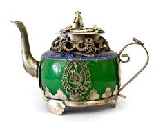 Hand Crafted Tibet Green Stone Cloisonne Monkey Top Decorative Teapot