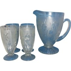 Jeannette Iris & Herringbone Footed 56 OZ Water Pitcher Four Footed Tumblers Set @rubylanecom #vintagebeginshere