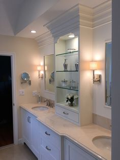 Medallion Cabinetry - Santa Cruz inset in Divinity White. Michael James Design, inc. Kitchen And Bath Design, Wet Bars, Marble Countertops, New Construction, Sinks, Baths, Furniture, Home Decor, Santa Cruz