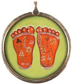 Beautiful native Indian style Krishna lotus feet with symbols pendant. love the dots.
