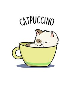 'Mignon Catpuccino Animal Pun' by punnybone day gifts for girlfriend 'Mignon Catpuccino Animal Pun' by punnybone Kawaii Drawings, Cute Animal Drawings, Cute Food Drawings, Cartoon Mignon, Funny Food Puns, Art Mignon, Cute Puns, Animal Puns, Cute Cartoon Wallpapers