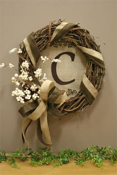 grapevine wreath with monogrammed burlap