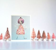 This listing is for a set of 6 note cards of my brand new 2015 holiday illustration- Pixie Tree.  This set is extra special because each note card has