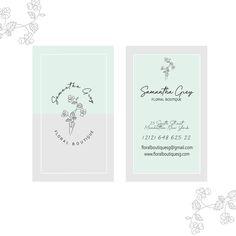 Floral Botanical Business Card Template Business Card Design Minimalist Simple Elegant Clean Minimalist Branding florist photography Custom Logo Design, Custom Logos, Business Logo Design, Business Names, Text Color, Card Templates, Minimalist, Place Card Holders, Branding