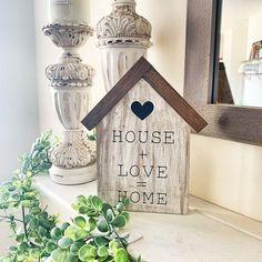 House + Love = Home⎪Farmhouse Decor⎪Neutral Decor⎪Wood House Sign⎪Tiered Tray Decor⎪Mantle Decor⎪ Living Room Decor⎪Mini Wood Sign⎪Birdhouse - Holzhaus Intarsia Woodworking, Woodworking Box, Woodworking Patterns, Woodworking Furniture, Woodworking Projects, Woodworking Workshop, Woodworking Classes, Home Wooden Signs, Awesome Woodworking Ideas