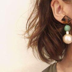べっ甲xターコイズxコットンパールピアス(イヤリング)pierce earring | Rire Vie (リールヴィー) Handmade Accessories, Jewelry Accessories, Jewelry Design, Macrame Earrings, Drop Earrings, Contemporary Jewellery, Ring Necklace, Sewing Crafts, Jewelery