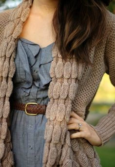 Jean dress, tan belt, sweater
