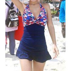 $21.40 Sexy Halter Spliced Printed Flounced One-Piece Women's Swimwear