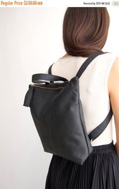 Sale BLACK leather backpack, school bag, backpacks for women, black leather bag, backpack purse, women backpack, Made to order by Albertinaboutique on Etsy https://www.etsy.com/listing/204840715/sale-black-leather-backpack-school-bag