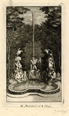 A fountain in the Versailles labyrinth, with monkey seated between two parrots perched on rocks; all are spurting water; illustration to Perrault's 'Labyrinthe de Versailles' (Paris: Imprimerie Royale, 1677).  c.1677  Etching, with letterpress on verso