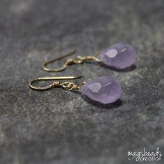 Drop Amethyst Earrings 14K Gold Fill Earring by magsbeadscreation, $35.00