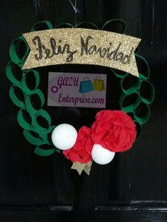 Corona navideña con  tubos de papel -Reciclado