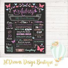 First Birthday Chalkboard Sign butterflies First Birthday