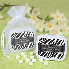 #Zebra Birthday Party - Personalized Mint Tin Favors