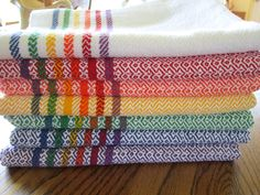 Handwoven Cotton Kitchen Towel Red with Rainbow by dancingspindles What if I made it plain weave white with pink stripes? Inkle Loom, Loom Weaving, Tapestry Weaving, Hand Weaving, Weaving Tools, Weaving Projects, Perler Beads, Swedish Weaving Patterns, Cat Cross Stitches