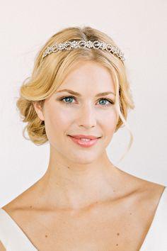 COLLETTE Headpiece- crown, halo, bridal, rhinestone, crystal, veil, wedding, tiara, headpiece. $268.00, via Etsy.